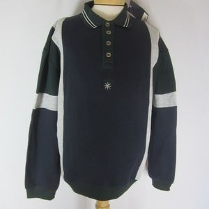 New Members Only Mens L Colorblock Polo Sweatshirt